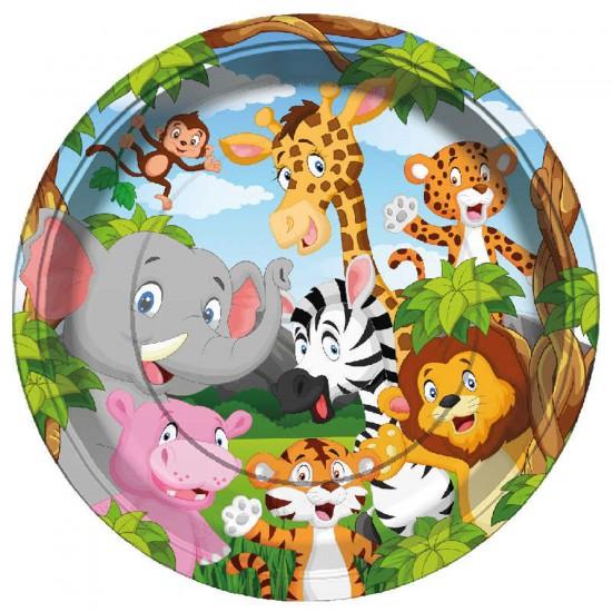 Safari Serisi Hayvanlar Temalı Karton Tabak 23 CM (8 Adet)