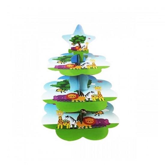Safari Serisi Karton Cupcake Standı Sevimli Hayvanlar Kek Standı