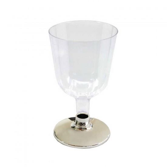 Plastik Şarap Bardağı Ayaklı Kadeh Altın/Gümüş Ayaklı (6 Adet)