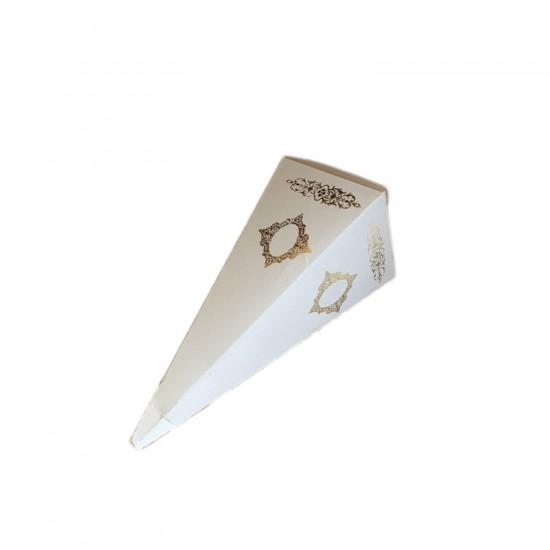 Karton Şeker Külahı Lüx Gold Yaldızlı Saray Desenli (25 Adet)
