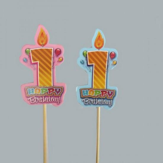 1 Yaş Çubuk Mumlu Happy Birthday  (10 Adet)