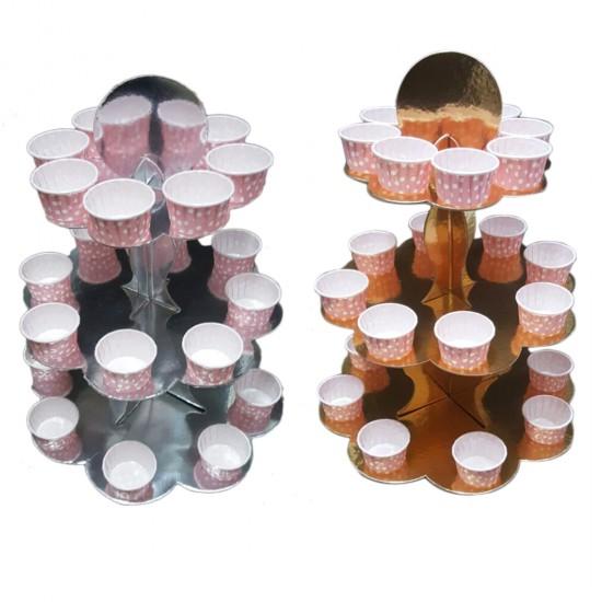 3 Katlı Parlak  Karton Cupcake Standı Karton Kek Standı