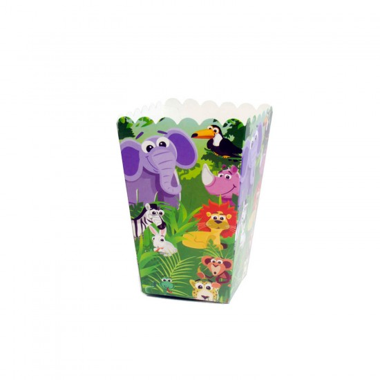 Sevimli Hayvanlar Temalı Karton Popcorn Kutusu (10 Adet)