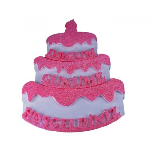 Strafor Kapı Süsü Pasta Modeli Doğum Günüme Hoşgeldiniz 48X36 CM