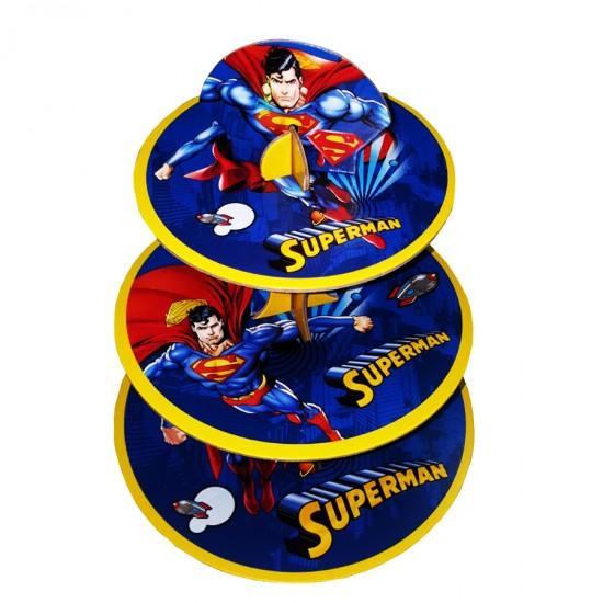 3 Katlı Karton Cupcake Standı Superman   Temalı Kek Standı