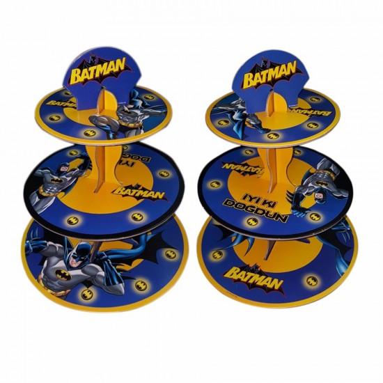 3 Katlı Karton Cupcake Standı Batman Temalı Kek Standı