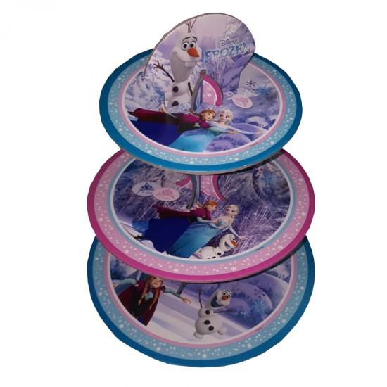 3 Katlı Karton Cupcake Standı Frozen Temalı Kek Standı