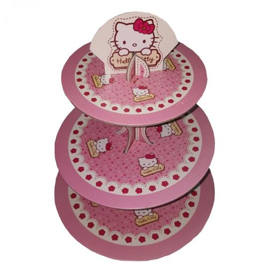 3 Katlı Karton Cupcake Standı  Hello Kitty Temalı Kek Standı