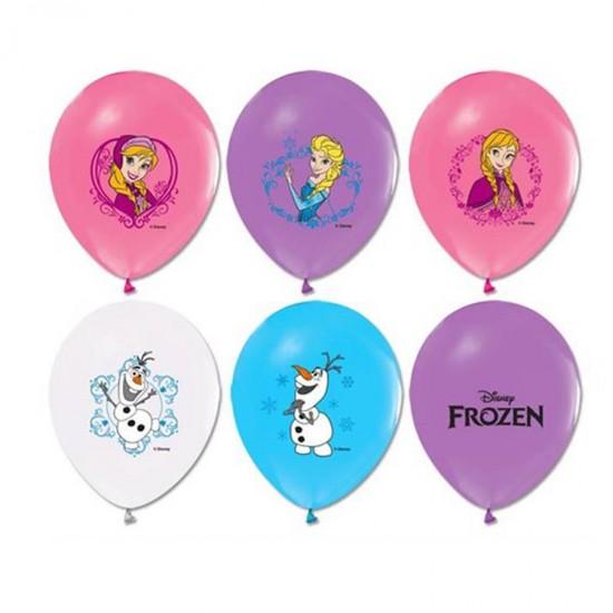 Frozen Temalı Balon 4+1  Baskılı Pastel Renk  (20 Adet)