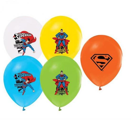 Superman Temalı Balon 4+1 Pastel Renk  (20 Adet)