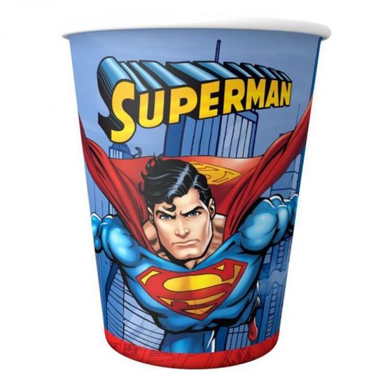 Superman Temalı Karton Bardak  180/200 Cc (8 Adet)