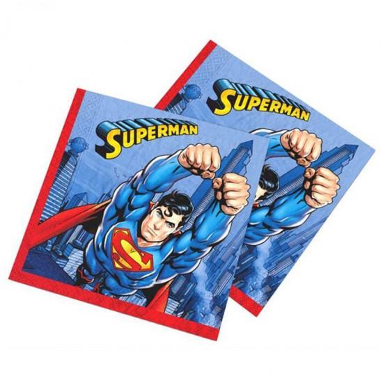 Superman Temalı Kağıt Peçete 33X33Cm (16 Adet)