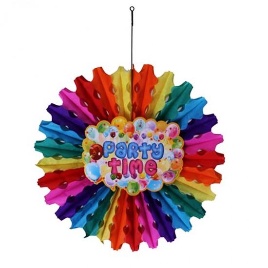 Süs Yelpaze Karışık Renk Party Time 50 Cm