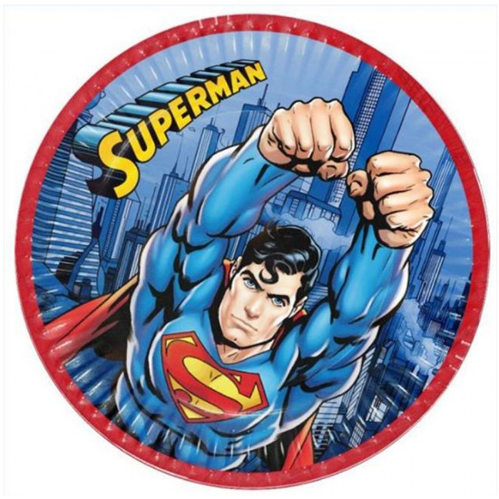 Superman Temalı Karton Tabak 23 Cm (8 Adet)