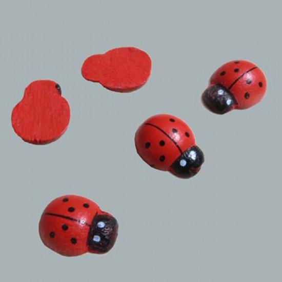 Uğur Böceği Minik Ahşap Yapışkansız (100 Adet)