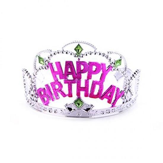 Taç Happy Birthday Yazılı Gümüş (10 Adet)