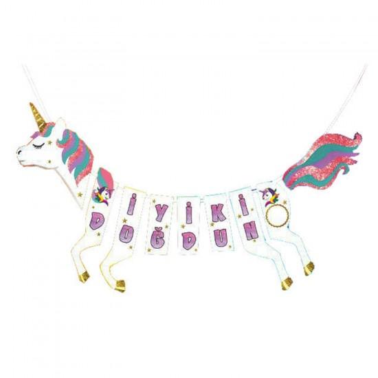 Unicorn Temalı Flama Asmalı At Şeklinde İyiki Doğdun Yazısı Simli