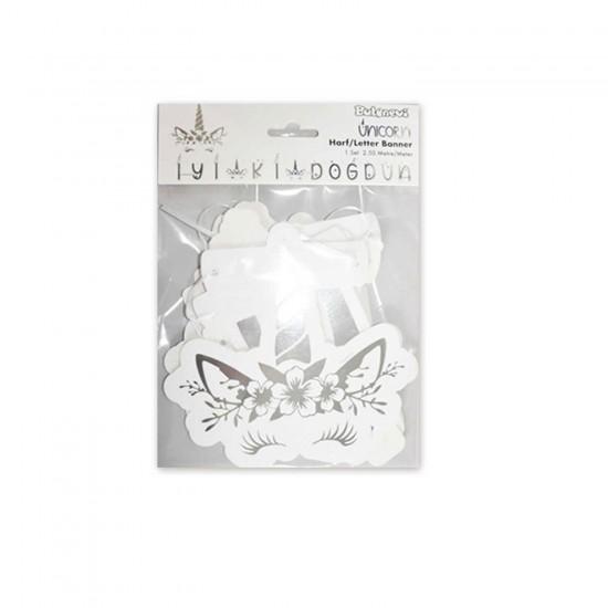 Unicorn Temalı Flama  Bayrak Seti İyiki Doğdun Yazılı 250 CM