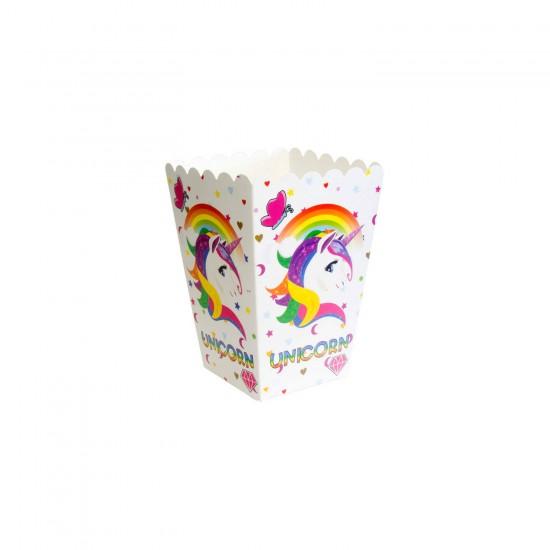 Unicorn Temalı Karton Popcorn Kutusu Mısır Cips Kutusu (10 Adet)
