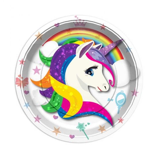Unicorn Temalı Karton Tabak 23 Cm (8 Adet)