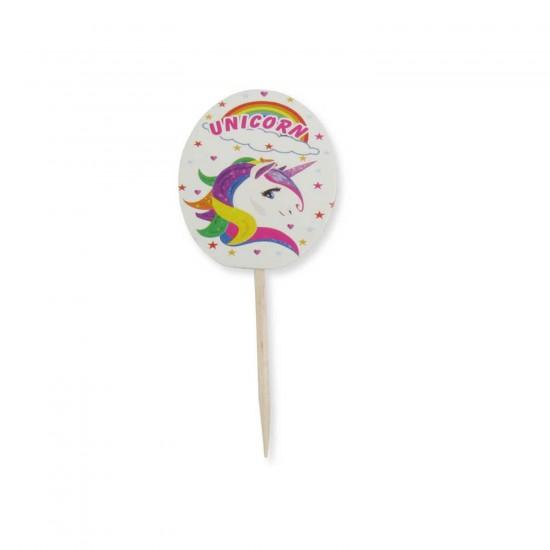 Unicorn Temalı Kürdanlı Sticker (20 Adet)