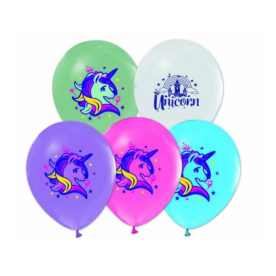 Unicorn Temalı Pastel Balon 4+1 (20 Adet)