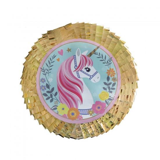 Unicorn Temalı Pinyata Metalize Süslü Sopalı 45X10 CM