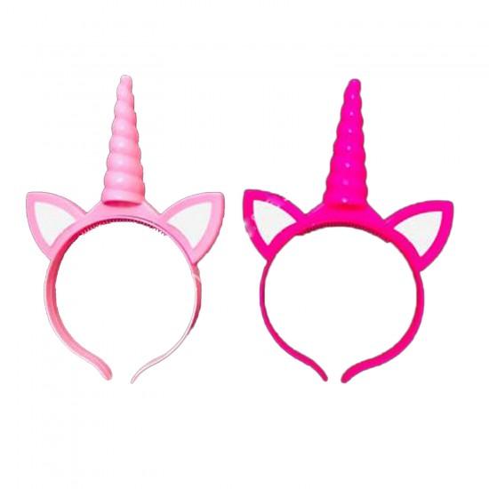 Unicorn Temalı Taç Plastik Işıklı  Tek Boynuz Parti Tacı Karışık
