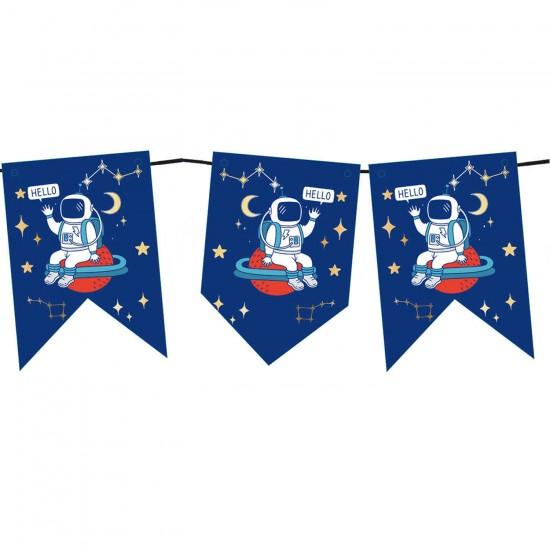 Uzay Temalı Flama Bayrak Seti Astronot Baskılı 200 CM