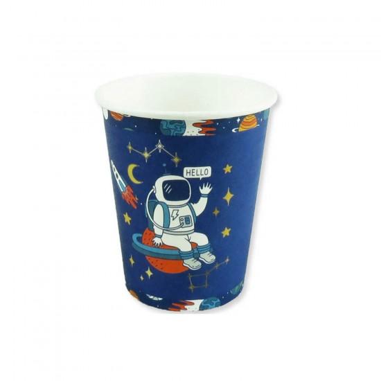 Uzay Temalı Karton Bardak Astronot Baskılı 8 OZ (8 Adet)