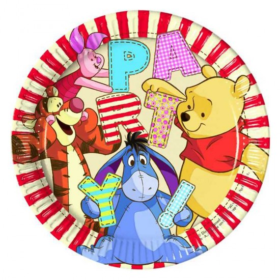 Winnie The Pooh Temalı Karton Tabak 23 Cm (8 Adet)