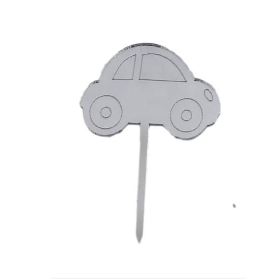 Wos Wos Araba Modeli Pasta Süsü Aynalı Pleksi (8 Adet)