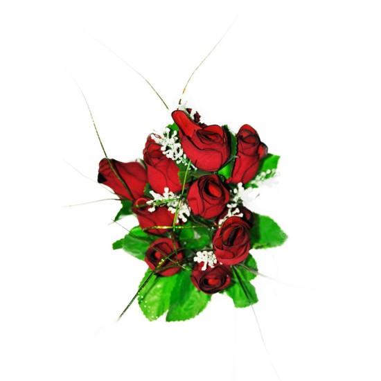 Yapay Çiçek Kırmızı Gül Buketi 12 li 43 CM