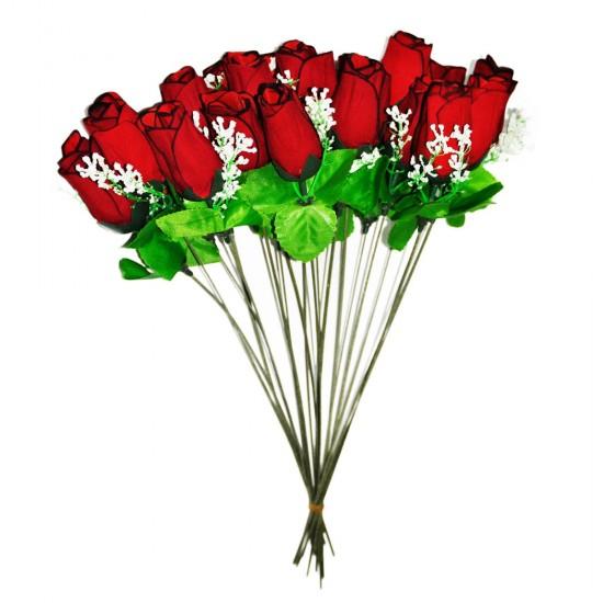 Yapay Çiçek Kırmızı Gül Buketi 20 li 34 CM (1 Demet)