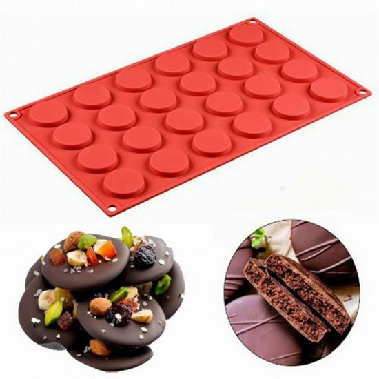Silikon Kalıp Yuvarlak Çikolata-Kek-Kurabiye Kalıbı 24 lü 17X29CM